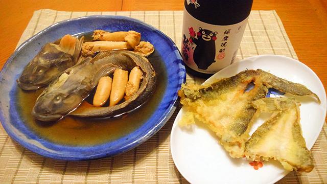煮付けと天ぷらにして晩酌